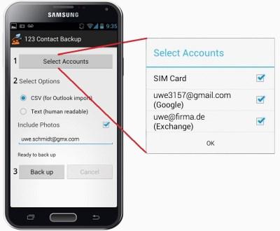 Android kontakte sichern