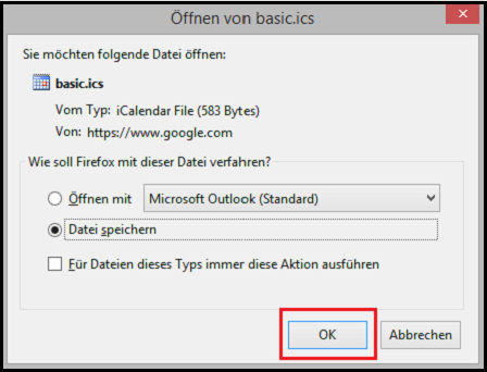 google Kalender als ics-file downloaden