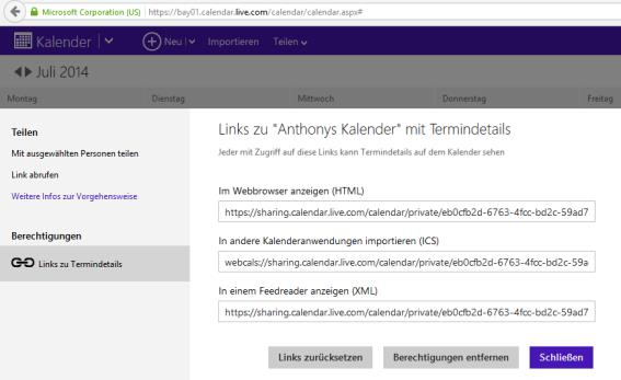 Outlook.com Kalender - Sicherheit