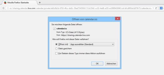 Outlook.com Kalender - Speichern