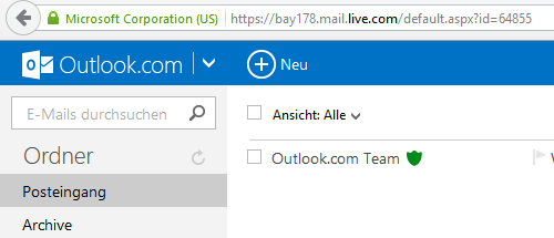 Outlook.com Kalender - Navigation