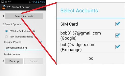 Android Contact Backup Step 1