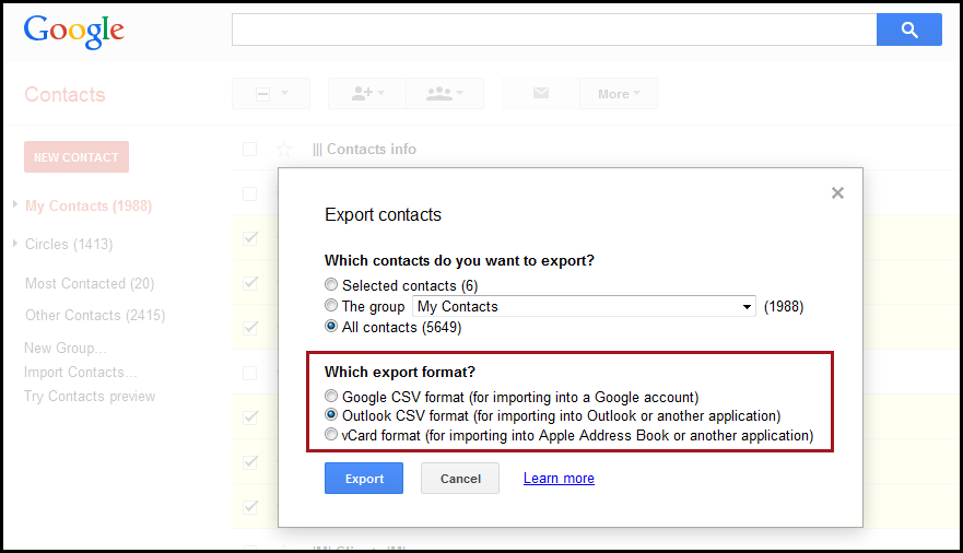 How to Export Google Contacts to CSV or vCard | AkrutoSync