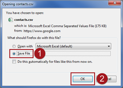 Save Google contacts as CSV file