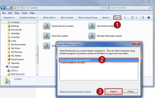 Click export to export the contacts in Windows as a CSV file