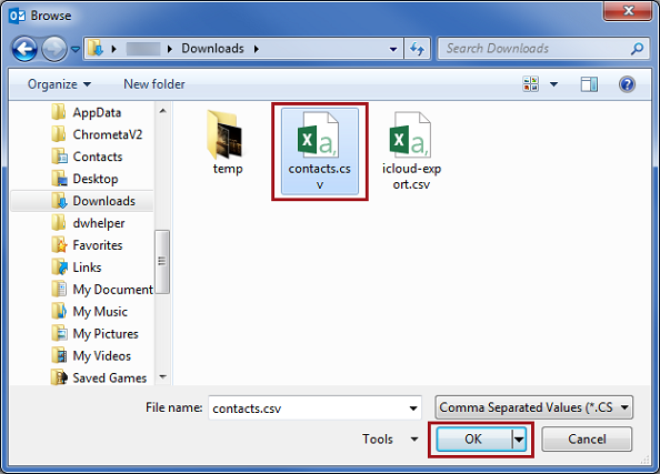 Locate the CSV file you have just exported from Windows contacts