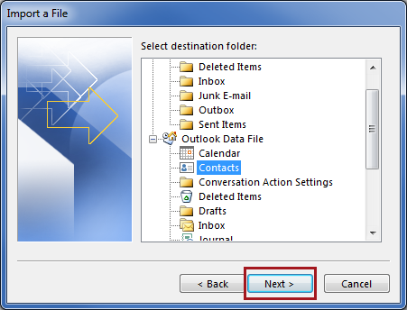 Select the destination contacts folder in Outlook