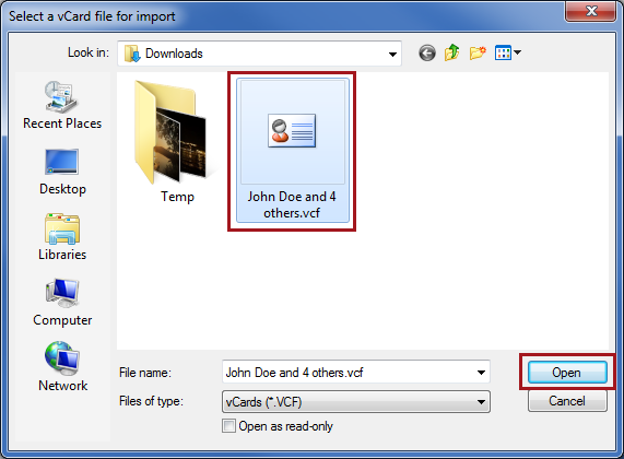 Locate and select the vCard file that was exported from iCloud