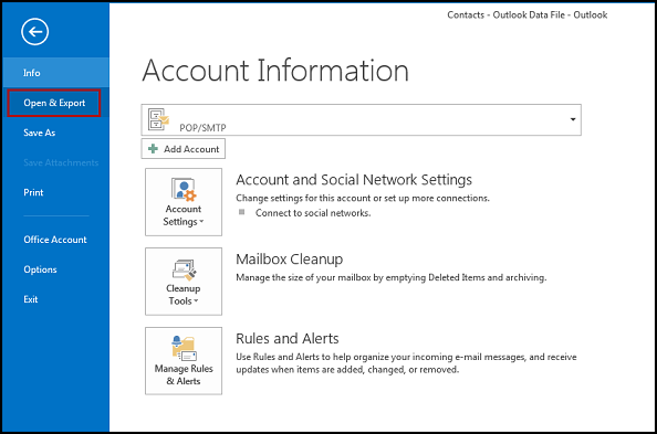 Click the Open and Export option in Outlook 2013