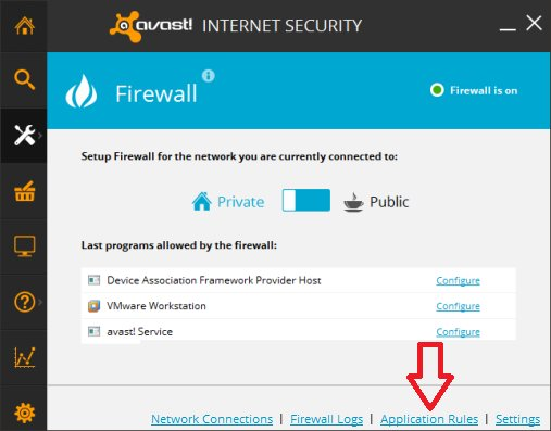 Avast Internet Security Firewall Configuration - Application Rules