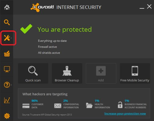Avast Internet Security Firewall Configuration - Tools