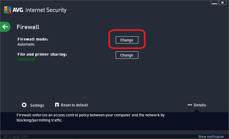 AVG Internet Security 2013 Firewall Configuration - Click Change
