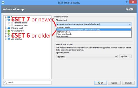 ESET Smart Security 6 Firewall Configuration - Automatic mode with exceptions