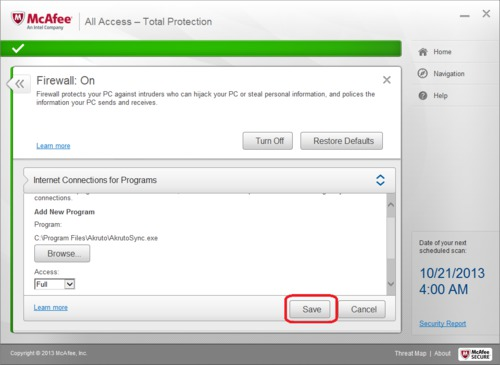 McAfee Total Protection Firewall Configuration - Save