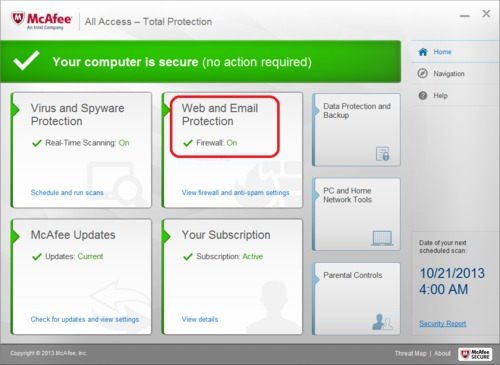 McAfee Total Protection Firewall Configuration - Web and Email Protection
