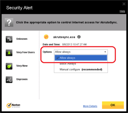 Norton 360 Firewall Configuration - Allow