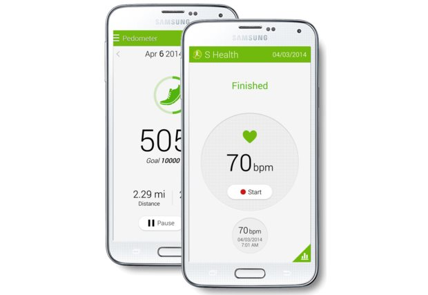 Samsung Galaxy S5 Heart Rate Monitor and Pedometer