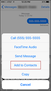 Save contacts received in a text message