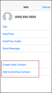 Save contacts received in a text message by creating a new contact or adding to an existing contact