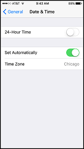 iOS Date and Time Settings""