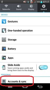 LG Optimus G2 - Accounts and sync