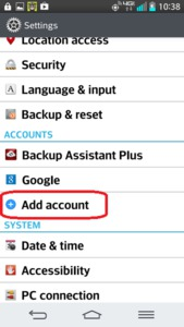 LG Optimus G2 - Add Account