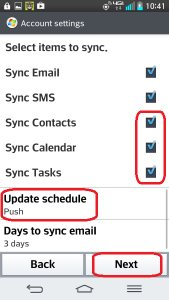 LG Optimus G2 - Sync Contacts, Calendar and Tasks