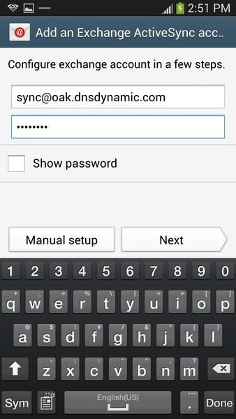 Change Outlook Password >> Sync your Samsung Galaxy S4 with Outlook | Akruto Sync User Guide