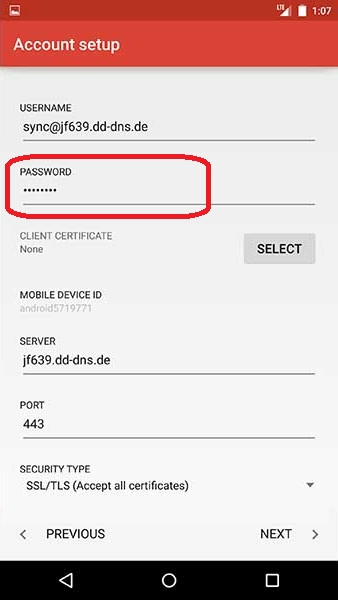 how to change outlook password on android phone