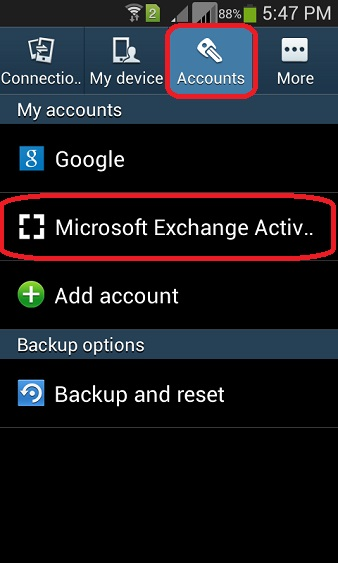 setup exchange email on samsung s5