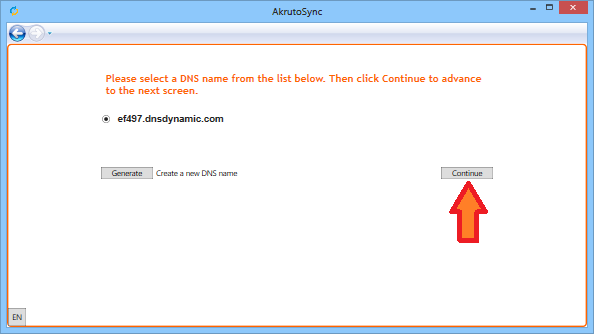 Continue setup with DNSDynamic