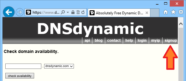 DNSDynamic signup