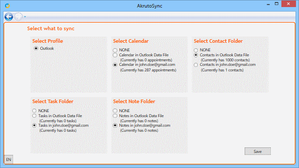 Select Outlook folders to sync with your phone