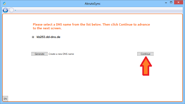 Continue setup with Two-DNS.de